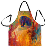Women's Berry Hunting Black Bear Custom Apron – Colorful Orange Green Brown Designer Apron -Exclusively Licensed Artwork -One Size Fits All
