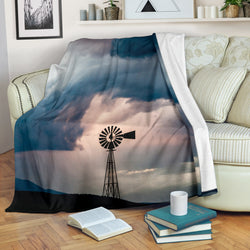 Stormy Day Windmill Fleece Blanket - Grey and Black TV Blanket - Exclusively Licensed Artwork - 3 Sizes - Youth, Large, X-Large