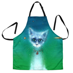 Cosmic White Kitty Cat Custom Apron - White Blue and Green Designer Apron - Exclusively Licensed Artwork - One Size Fits All