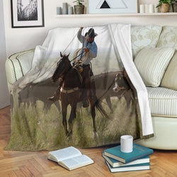 Cowboy Western Horse Roping Cows Fleece Blanket - Black and Green TV Blanket - Exclusively Licensed Artwork- 3 Sizes- Youth, Large, X-Large