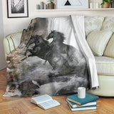 Black Stallion Horses in Waterfall Mist Fleece Blanket - TV Blanket - Exclusively Licensed Artwork - 3 Sizes - Youth, Large, X-Large