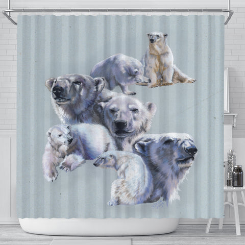 Gray Polar Bear Shower Curtain