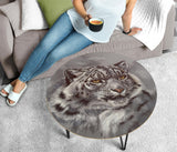 White Leopard on Grey Round Coffee Table