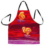 Womens Baby Chicks Chicken Custom Apron - Yellow, Purple and Red Designer Apron - Exclusively Licensed Artwork - One Size Fits All