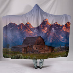 Rustic Old Barn with Mountains Wearable TV Blanket - Fleece Blanket with Gorgeous Licensed Artwork - Youth and Adult Sizes