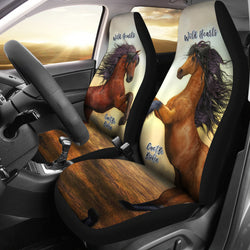 Wild Hearts Can't Be Broken Car Seat Covers For Horse Lovers - Brown and Black Horses