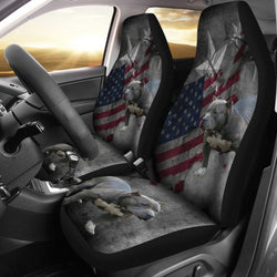 Patriotic Pitt Bull Auto Seat Cover - Grey - Fits Most Bucket Seats - Easy to Install