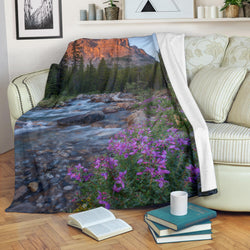 Mountain River with Wildflowers Fleece Blanket - Purple Grey and Green TV Blanket - Exclusively Licensed Artwork - 3 Sizes - S L XL
