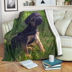 Silli Border Terrier Puppy Dog in Grass Fleece Blanket- Black Green TV Blanket - Exclusively Licensed Artwork - 3 Sizes - S L XL