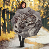 White Leopard on Grey Umbrella