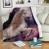 Magical Purple Moon Unicorn Fleece Blanket – TV Blanket - Exclusively Licensed Artwork - 3 Sizes - Youth, Large, X-Large
