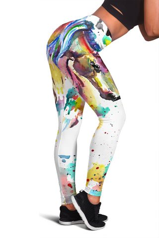 Watercolor Collection Horse Leggings