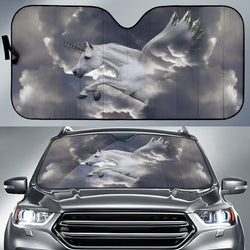 Silver Unicorn Pegasus Horse Sunshade for Car Windshield