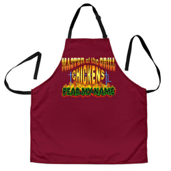 Mens Master of the Grill Chickens Fear My Name Custom Apron – Red Burgundy BBQ Apron - Exclusively Licensed Artwork - One Size Fits All
