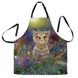 Ruffled Kitty Cat Custom Apron - Green Gray and Yellow Designer Apron - Exclusively Licensed Artwork - One Size Fits All