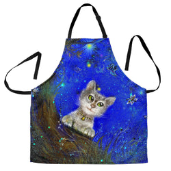 Magic Green Eyed Kitty Cat Custom Apron - Black and Blue Designer Apron - Exclusively Licensed Artwork - One Size Fits All