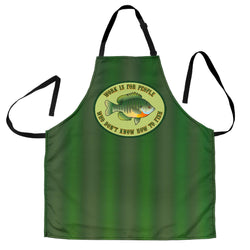 Work is for People Who Don't Know How to Fish Custom Apron – Dark Green, Green Stripe, Light Green and White Fishing Apron