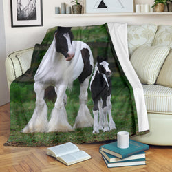 Gypsy Vanner Horse and Baby Fleece Blanket - Black White and Green TV Blanket - Exclusively Licensed Artwork - 3 Sizes-Youth, Large, X-Large