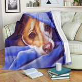 Adorable Terrier Dog Fleece Blanket - Blue White Brown TV Blanket - Exclusively Licensed Artwork - 3 Sizes - Youth, Large, X-Large