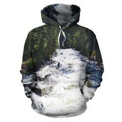 Relaxing Rapids Mountain River Hoodie - Green and White - Men, Women and Kids Sizes