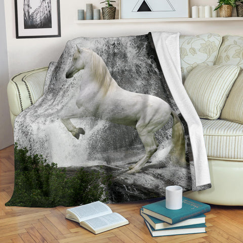 White, Grey and Grey Fleece Blanket - Rearing White Lipizzaner Horse - Exclusively Licensed Artwork - 3 Sizes - Youth, Large, X-Large