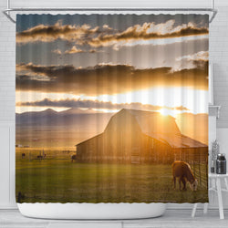 On the Range Sunlit Barn Shower Curtain