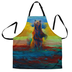 Alert Grizzly Bear Custom Apron - Brown Blue and Green Designer Apron - Exclusively Licensed Artwork - One Size Fits All