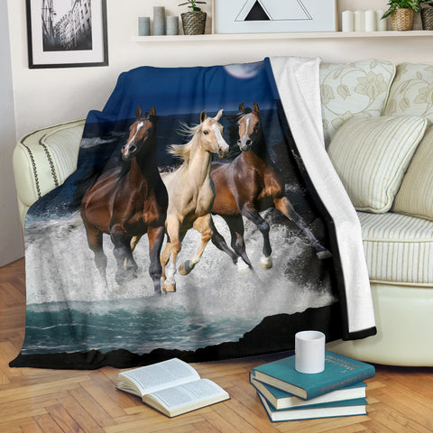 3 Horses on the Beach Fleece Blanket - Blue White and Brown TV Blanket - Exclusively Licensed Artwork - 3 Sizes - Youth, Large, X-Large