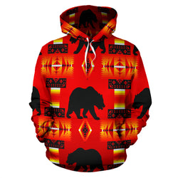 Southwestern Bear Hoodie - Dark Red - Men Women Children