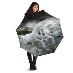White Lipizzaner Horse - Black Umbrella - Folding Umbrella with UV Protection