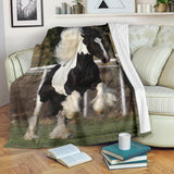 Rearing Gypsy Vanner Horse Fleece Blanket - Black White and Green TV Blanket - Exclusively Licensed Artwork - 3 Sizes - S L XL