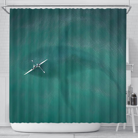 Whale and Kayak Shower Curtain