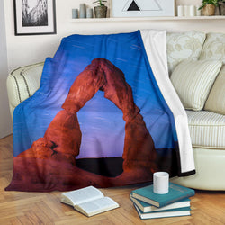Southwestern Arch Fleece Blanket - Red Clay and Blue Sky TV Blanket - Exclusively Licensed Artwork - 3 Sizes - Youth, Large, X-Large