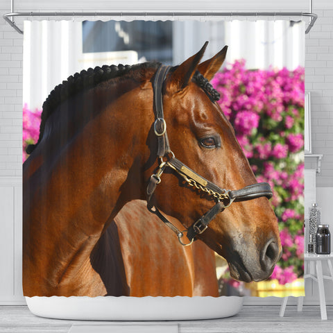 Pink Flowers Bay Sport Horse Shower Curtain