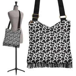 Black and White Cow Print Boho Handbag