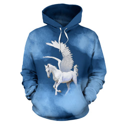 Mythology Pegasus Hooded Sweatshirt - Blue and White - Mens Womens and Childrens Sizes