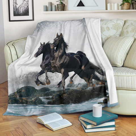 Black Arabian Horses Running Fleece Blanket - Black and Grey TV Blanket - Exclusively Licensed Artwork - 3 Sizes - Youth, Large, X-Large