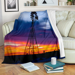 Windmill with Fiery Sunset Fleece Blanket - Orange Purple and Black TV Blanket - Exclusively Licensed Artwork - 3 Sizes - S L XL