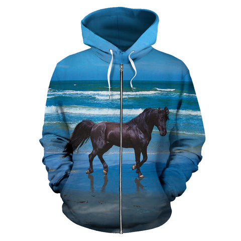 Black Stallion Horse on the Beach Zip Up Blue and Black Hoodie