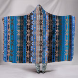 Inside the Paint Lodge Hooded Blanket Southwestern TV Blanket Blue Grey Adult and Youth Sizes