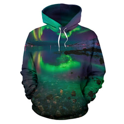 Northern Lights Zip-Up Hoodie - Green and Blue - Men Women and Kids Sizes