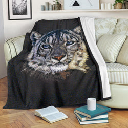 Gorgeous White Tiger Fleece Blanket - Black and White TV Blanket - Exclusively Licensed Artwork - 3 Sizes - Youth, Large, X-Large