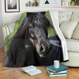 Beautiful Black Friesian Horse Fleece Blanket - Black and Green TV Blanket - Exclusively Licensed Artwork - 3 Sizes - Youth, Large, X-Large