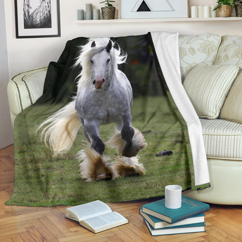 Dapple Gray Horse with Feathers Fleece Blanket - Grey and Green TV Blanket - Exclusively Licensed Artwork - 3 Sizes - Youth, Large, X-Large
