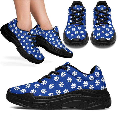 Paw Print Blue Chunky Sneakers - Blue and White with Black Sole