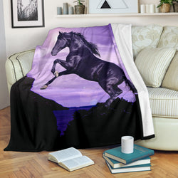 Gorgeous Black Horse Fleece Blanket - Black and Purple TV Blanket - Exclusively Licensed Artwork - 3 Sizes - Youth, Large, X-Large