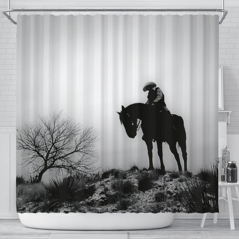 Silence On the Range Cowboy Shower Curtain