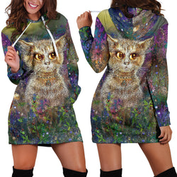 Women's Flower Cat Hoodie - Green, Beige, Purple Cool Hoodies - Sizes XS, S, M, L, XL, 2XL, 3XL, 4XL