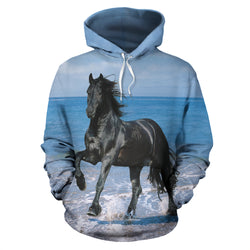 Black Stallion on the Beach Hoodie