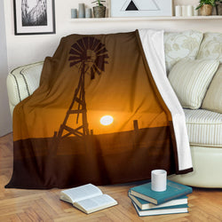 Rustic Windmill with Sun Fleece Blanket - Yellow and Brown TV Blanket - Exclusively Licensed Artwork - 3 Sizes - Youth, Large, X-Large